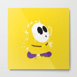 Yellow Shy Guy Splattery Design Metal Print