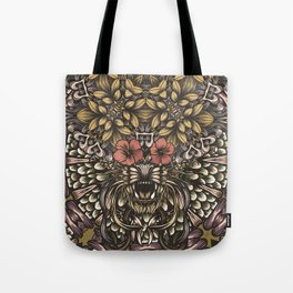 Tiger and flowers Tote Bag