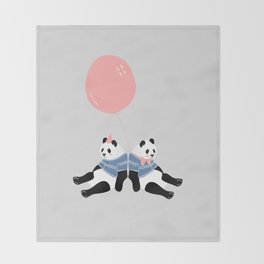 Happy Birthday Panda Throw Blanket