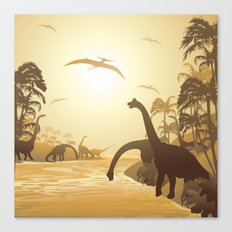 Dinosaurs on Tropical Jurassic Landscape Canvas Print