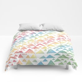 mountains, low hills, tents, trees rainbow Comforters