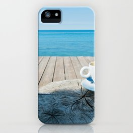 Wooden floor with chaise-longues and cup of coffee, Istria, Croatian coast iPhone Case