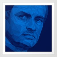 chelsea fc Art Prints featuring Jose Mourinho / Chelsea FC – Poly by Riccardo Anelli