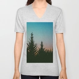 TREES - SUNSET - SUNRISE - SKY - COLOR - FOREST - PHOTOGRAPHY Unisex V-Neck