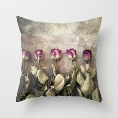 Five dried roses Throw Pillow