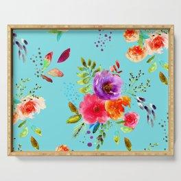 Bright Watercolor Flowers on Blue |Cyan Neon Floral | Renee Davis Serving Tray