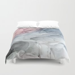 Pastel Blush, Grey and Blue Ink Clouds Painting Duvet Cover
