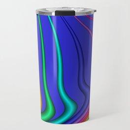fractal lines on blue Travel Mug