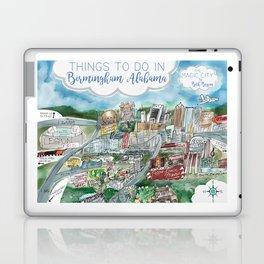 Cartoon Map of Birmingham, Alabama Landmarks Laptop & iPad Skin