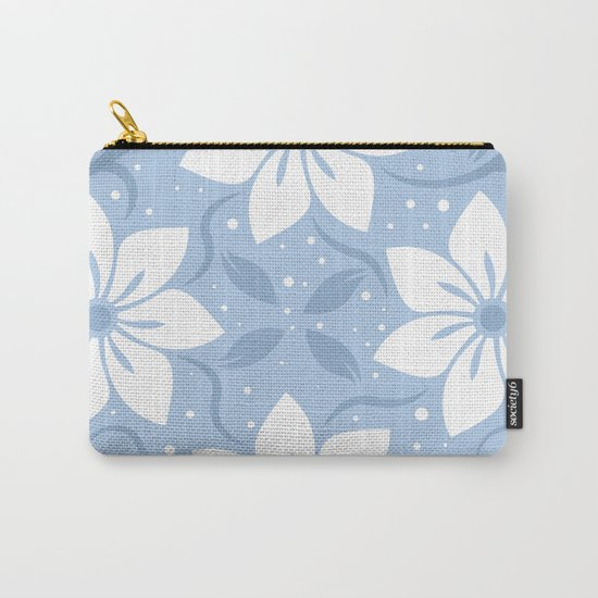 Magical Blue Flower Pattern Carry-All Pouch