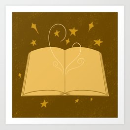 gold magic book Art Print