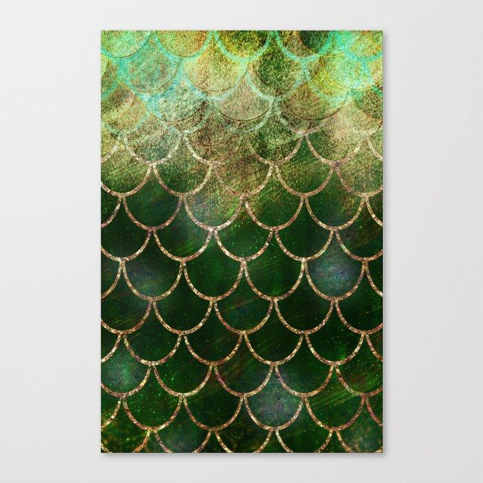Green & Gold Mermaid Scales Leinwanddruck