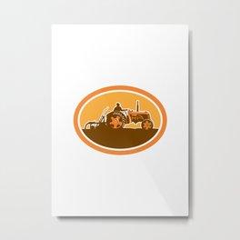 Farmer Driving Vintage Farm Tractor Oval Retro Metal Print