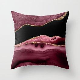 Burgundy Geode & Gold Glitter // 13 Throw Pillow