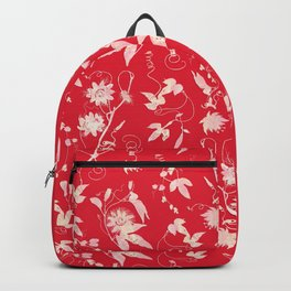Festive Christmas Bright Red Passion Flowers Backpack