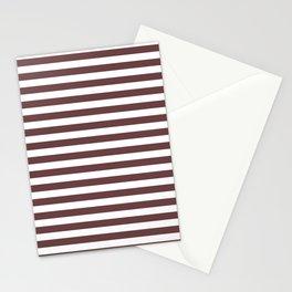Pantone Red Pear & White Uniform Stripes Fat Horizontal Line Pattern Stationery Cards