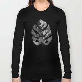 Black And White Tropical Banana Leaves Pattern Long Sleeve T-shirt