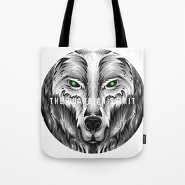 The Guardian Spirit Wolf Gift Animal Nature Green Grey Tote Bag
