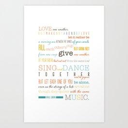 On Marriage: Kahlil Gibran Quote Typography Print Art Print