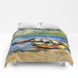 Boats On Lake McDonald Watercolor Comforters