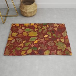 Autumn Leaves Red Rug