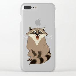 "CARTOON RACCOON ""Brown"" Clear iPhone Case"