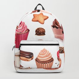 Coffee, chocolate eclair, cinnamon bun and cupcakes illustrations Backpack