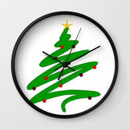 Minimalist Green Christmas Tree Doodle with Ornaments and Star Wall Clock