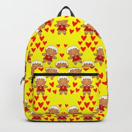 Christmas pattern. Cute gingerbread girls cookies in dresses, red hearts. Backpack