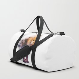 Lion Double exposure art Duffle Bag