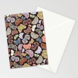 Moths Pattern - Dark Brown Stationery Cards