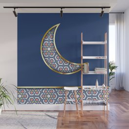 Patterned crescent on dark blue Wall Mural