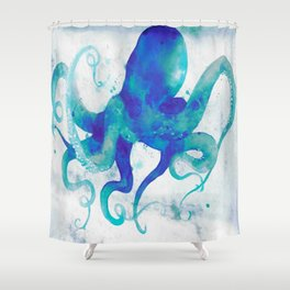 Octopus Watercolor Shower Curtain