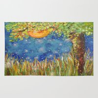 fireflies Area & Throw Rugs featuring Fireflies by Debydear