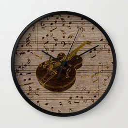 Golden pyrography  Acoustic Guitar on wood Wall Clock