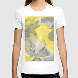 Hand painted gray yellow abstract watercolor pattern T-shirt