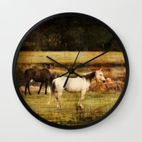 horses Wall Clocks featuring Horses by Christy Leigh