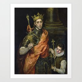 El Greco  -  St. Louis  And His Page Art Print