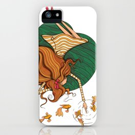 Girl and fish iPhone Case