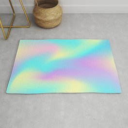 Holographic Iridescence Colorful Gradient Abstract Neon Glow Multi Colored Pattern  Rug