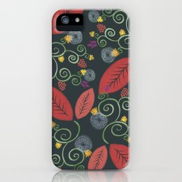 Red leaves floral dance iPhone Case