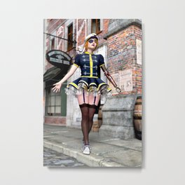 Steampunk Babe with Mechanical Arm Metal Print