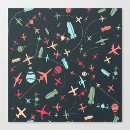 Black Airplane and Aviation Pattern Canvas Print