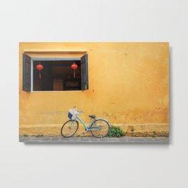 Bicycle and yellow wall. Metal Print