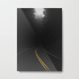 Road Black Yellow Metal Print