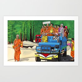 Truckin' Monks Art Print