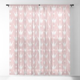 Cute Princess Tiara Pattern Sheer Curtain