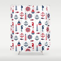 navy Shower Curtains featuring Navy by Valmo. Surface pattern design by Valeria