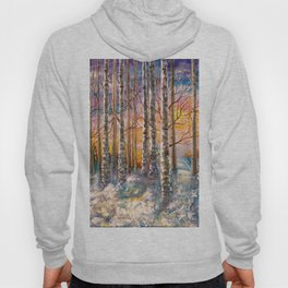 Winter Sunset Landscape Impressionistic Painting With Palette Knife Hoody