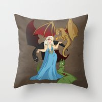 mother of dragons Throw Pillows featuring Mother of Dragons by Danielle Gransaull